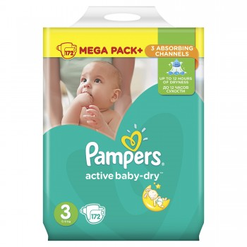 Пелени Pampers Active Baby-Dry Rазмер 3 (Midi)  4-9 кг. 1 бр.